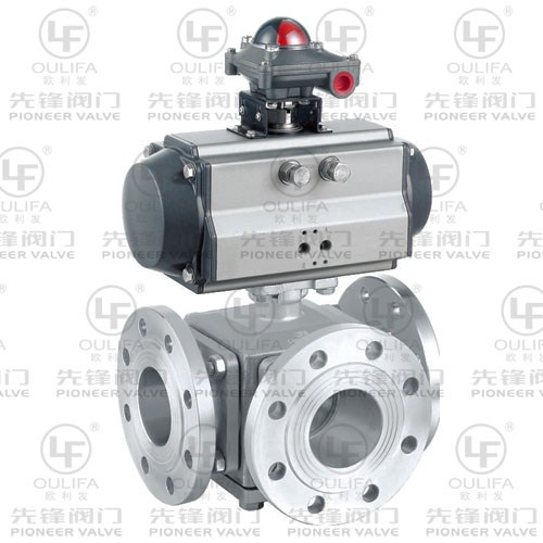 Pneumatic Flanged 3-Way Ball Valve Q648F