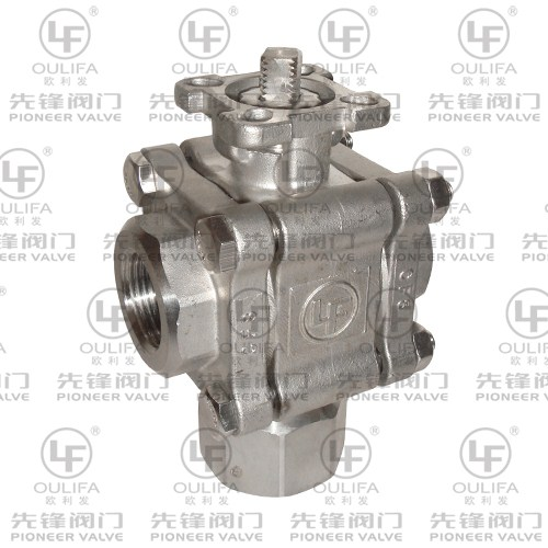 3pc Vertical 3-Way Ball Valve PQ13F-2000PSI