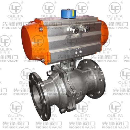 Pneumatic Flanged Ball Valve with Direct Mounting Pad PQ641F
